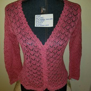 #381 NWT Emma James Pink Eye-Let Lace Cardigan, S